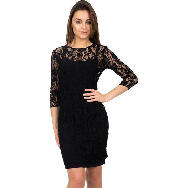 745ebb261088 Koronkowa czarna sukienka z rękawem 7 8 BIALCON - Sukienki damskie ...