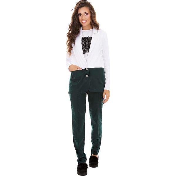 44e69f71 3-częściowy zestaw w kolorze ciemnozielonym - marynarka, bluza, spodnie