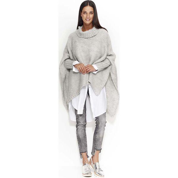 e4219c733a8e Jasnoszary Ciepły Sweter Oversize z Golfem - Golfy damskie marki ...