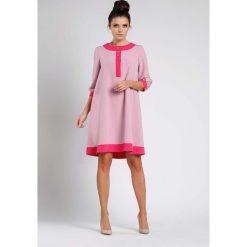 1421904437 sukienki wizytowe sklepy internetowe - zobacz wybrane produkty. Jasno  Różowa Luźna Wizytowa Sukienka na Guziki z Lamówkami. Sukienki damskie  marki Molly.pl