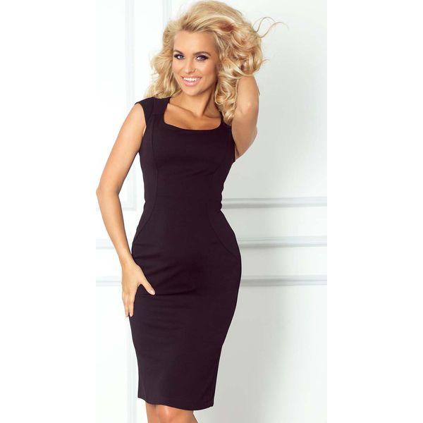 8374109e9 Czarna Ołówkowa Sukienka z Mini Rękawkiem - Sukienki damskie marki ...