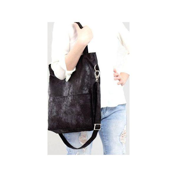 c85f3fcf6c6a9 Czarna prostokątna torba z zamszu ekologicznego - Torebki klasyczne ...