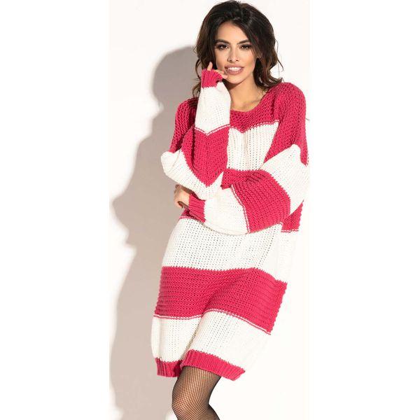 5052d22e46 Różowa Krótka Wełniana Sukienka -Tunika w Pasy - Sukienki damskie ...