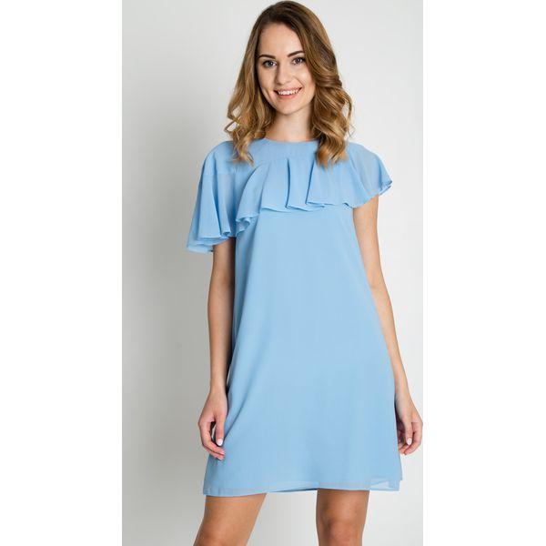 8ea6f4eb3e Jasnoniebieska sukienka z falbaną BIALCON - Sukienki damskie marki ...