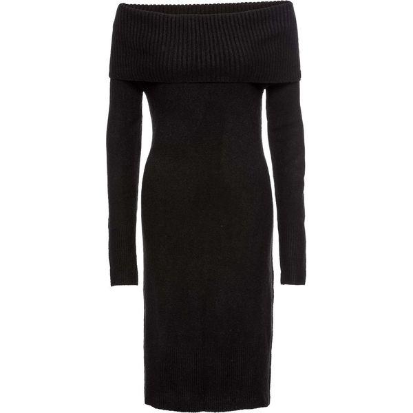 453d15c781 Sukienka dzianinowa z odkrytymi ramionami bonprix czarny - Sukienki ...