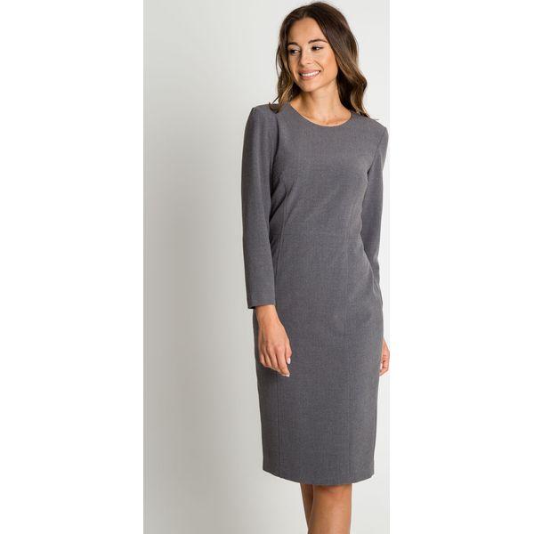 878f7e6bbb Elegancka szara sukienka z długim rękawem BIALCON - Sukienki damskie ...