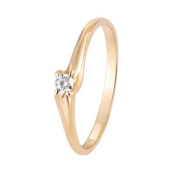 Wspaniały Pierścionek Złoty Złoto żółte 585 Brylant 008ct