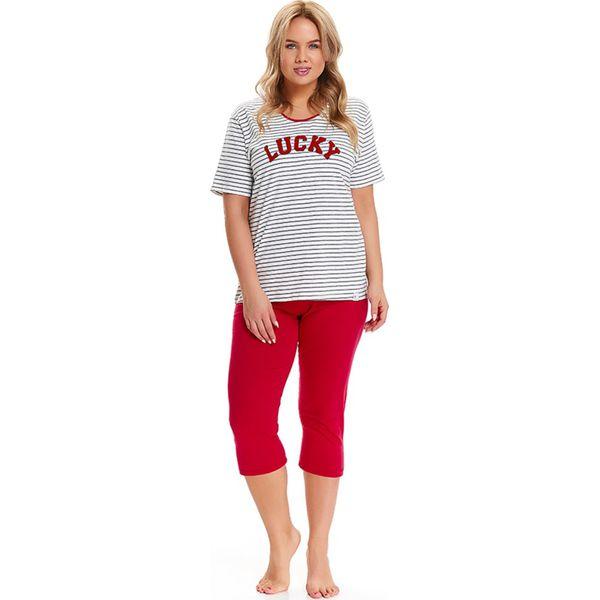 50e09cd27a7e77 Piżama w kolorze biało-czarno-czerwonym - t-shirt, spodnie - Białe ...