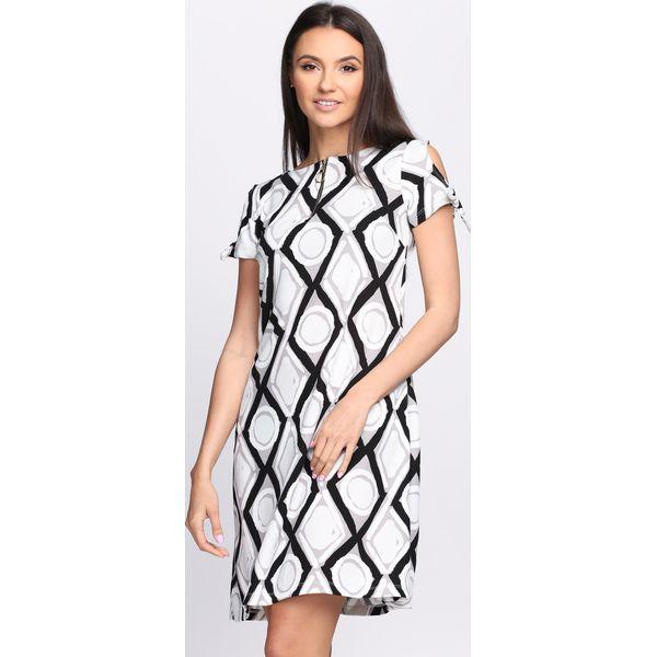 3b082d7f4c Czarno-Biała Sukienka Chicory - Białe sukienki damskie marki Born2be ...