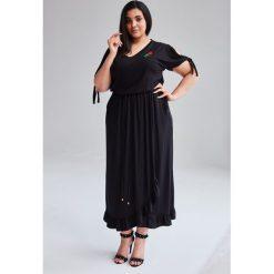 9edd9f6172 Czarna Sukienka Laura MAXI duże rozmiary OVERSIZE PLUS SIZE WIOSNA.  Sukienki damskie marki Moda Size