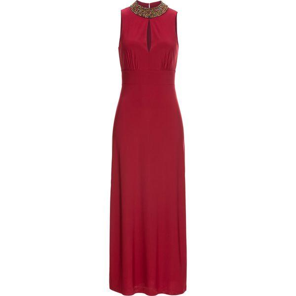 a965307cf4 Sukienka z aplikacją w dekolcie bonprix ciemnoczerwony - Czerwone ...
