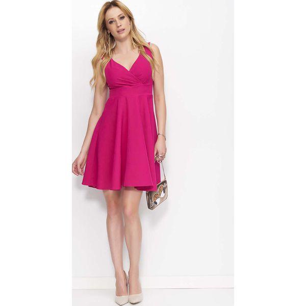 b7bd20a757 Fuksja Sukienka Rozkloszowana Z Kopertowym Dekoltem Sukienki