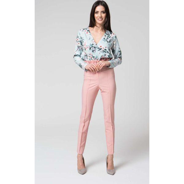 3d695693dc8f00 Różowe Eleganckie Spodnie z Wysokim Stanem z Falbanką - Czerwone ...