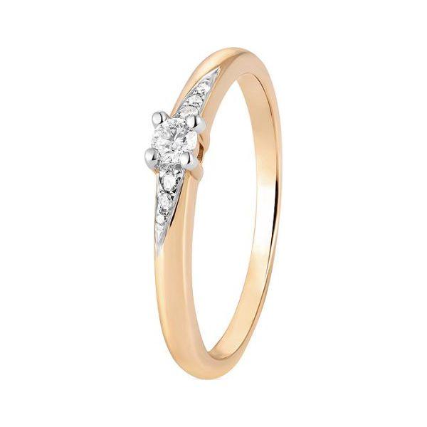Piękny Pierścionek Złoty Złoto żółte 585 Brylant 010ct