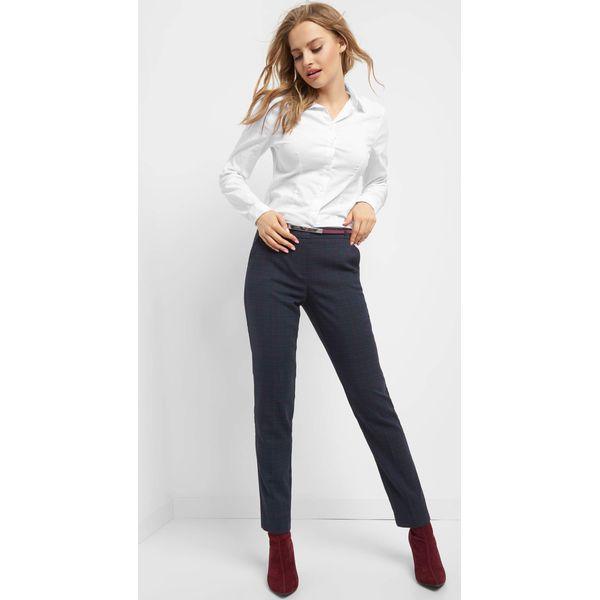 3553db648538a0 Eleganckie spodnie w kratę - Niebieskie spodnie materiałowe damskie ...