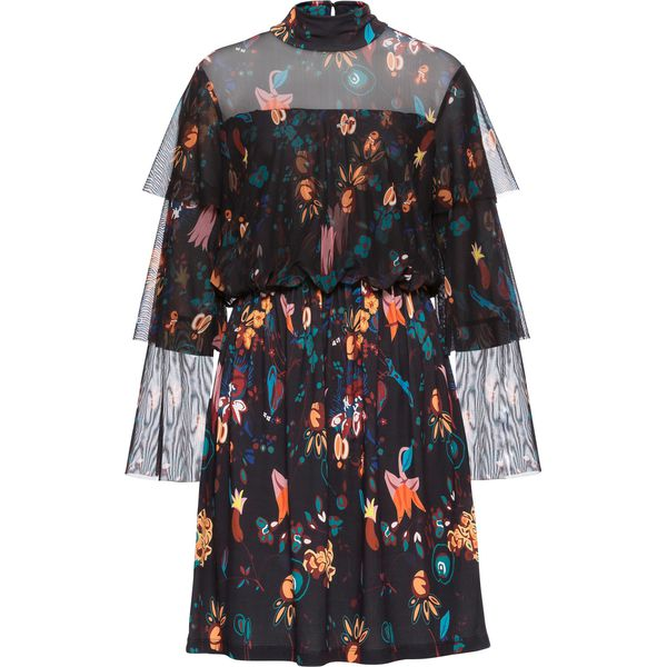 a60adf1852 Sukienka z siatkową wstawką i nadrukiem bonprix czarno-żółto ...