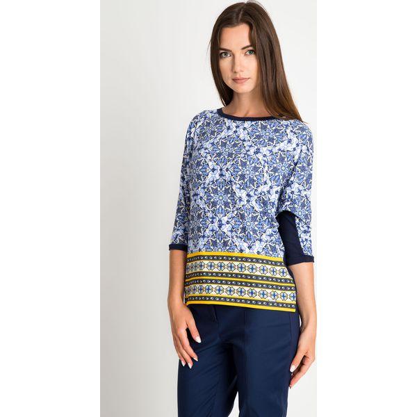 c2014004 Granatowa bluzka z orientalnym wzorem QUIOSQUE