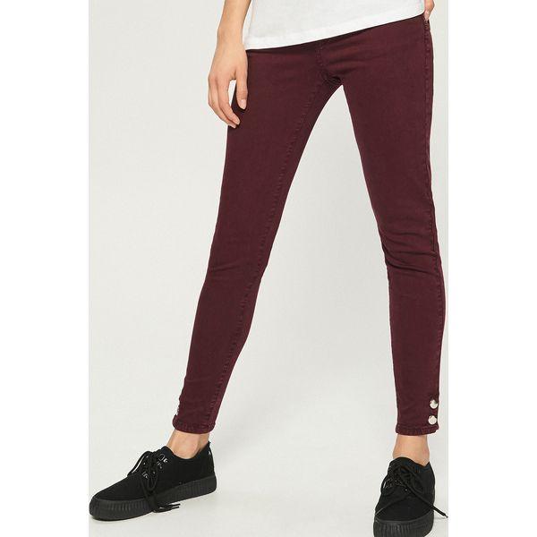 d82005071175 Jeansy skinny z napami - Bordowy - Czerwone rurki damskie marki ...