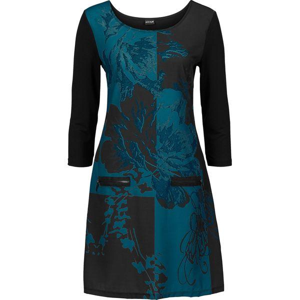 2e8a204733 Sukienka z zamkami bonprix czarno-niebieskozielony morski wzorzysty ...