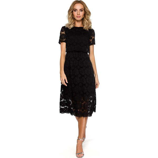53a1ed7b98 Czarna Koronkowa Rozkloszowana Midi Sukienka z Krótkim Rękawem ...