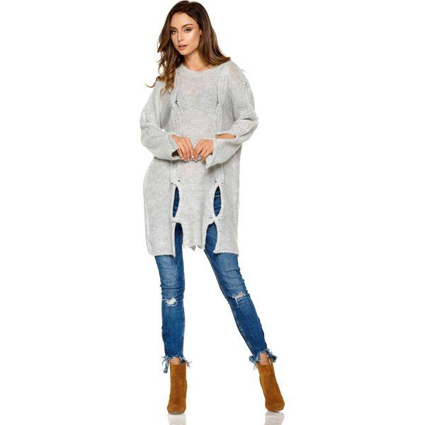 eb5fbce87624e Dłuższy Jasnoszary Sweter z Owalnymi Wycięciami - Swetry klasyczne ...