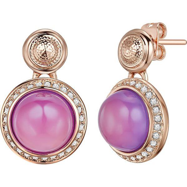81d306812357 Pozłacane kolczyki-wkrętki z kryształkami Swarovski i perłą - Żółte ...