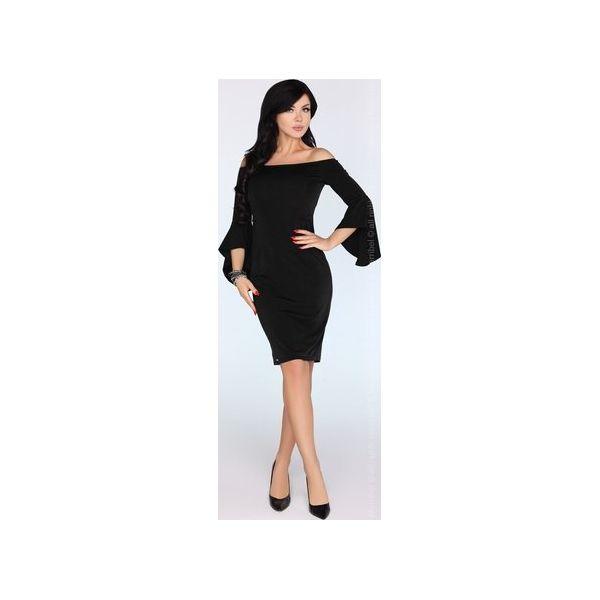 c50a7d05e1 Ołówkowa sukienka z odkrytymi ramionami i rękawami asymetrycznie ...