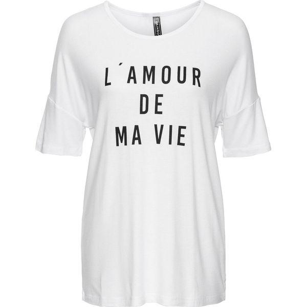 9704f736f T-shirt bonprix biało-czarny z nadrukiem - Białe t-shirty damskie ...