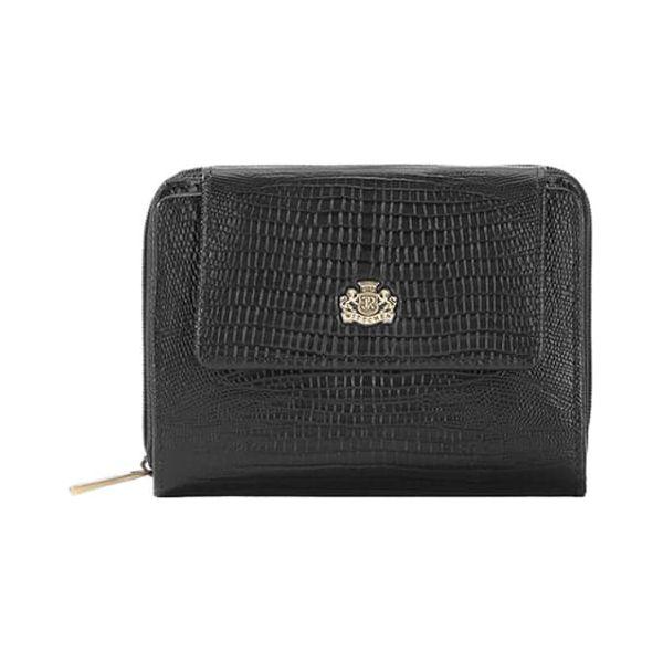 e8b6e93c38c27 Skórzany portfel w kolorze czarnym - (D)12 x (S)9 cm - Czarne ...