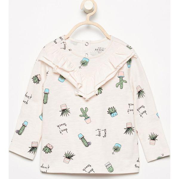 76ad704e942ac6 Bluzka z nadrukiem i falbanką - Kremowy - Białe bluzki i koszule dziewczęce  Reserved, z nadrukiem, z falbankami. Za 24.99 zł. - Bluzki i koszule  dziewczęce ...