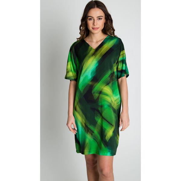 bea240226e Zielona sukienka we wzory z krótkim rękawem BIALCON - Sukienki ...