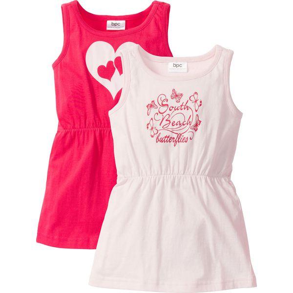 ea953c7b48 Sukienka z dżerseju (2 szt.) bonprix różowy hibiskus + bladoróżowy z ...