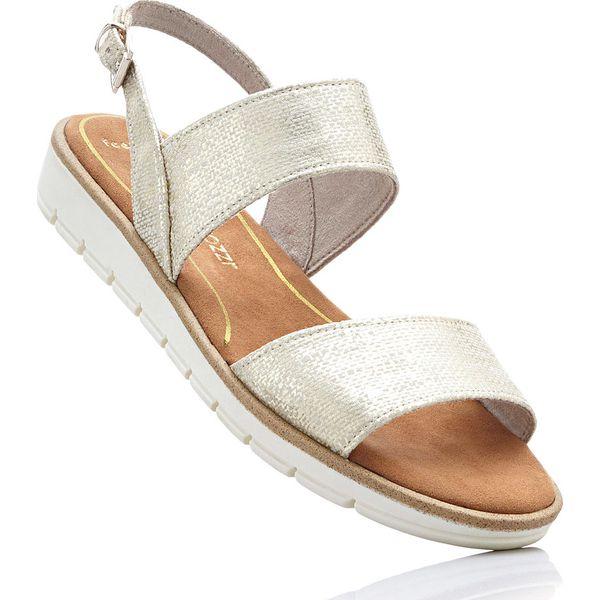 0a8a7356be02b Sandały Marco Tozzi bonprix beżowy metaliczny - Brązowe sandały ...