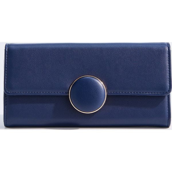 aa14fa4f0451d Duży portfel z ozdobnym zapięciem - Granatowy - Niebieskie portfele ...