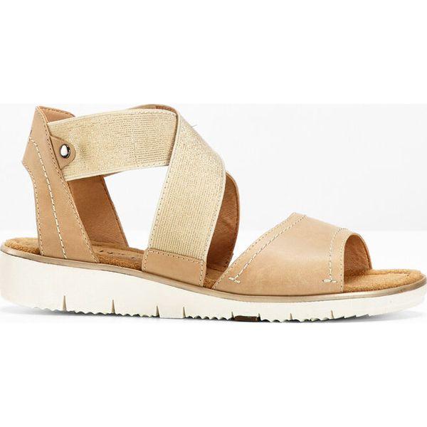 c6fd5980 Wygodne sandały skórzane bonprix beżowo-złoty - Sandały damskie ...