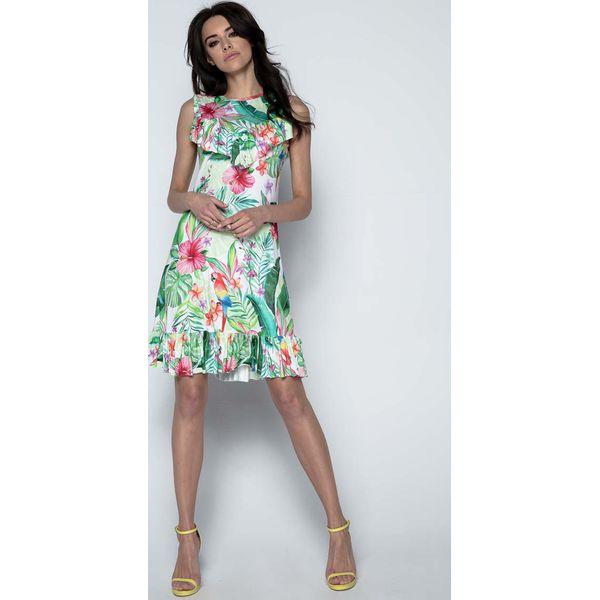1a2eb57462 Sukienka z Tropikalnym Motywem z Falbankami - Sukienki damskie marki ...