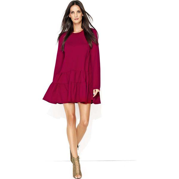 1feeb066b2 Bordowa Dresowa Sukienka z Szerokimi Falbankami na Dole - Sukienki ...
