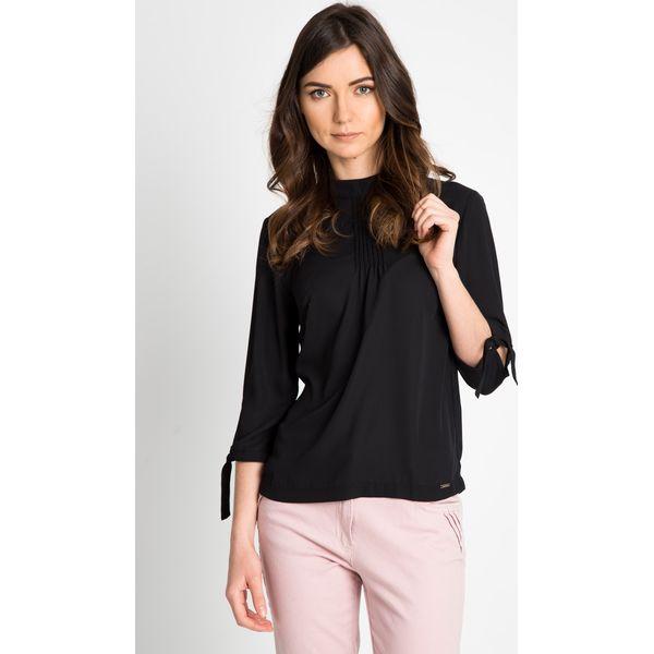 3bc8d26b Elegancka czarna bluzka z wiązanymi rękawami QUIOSQUE