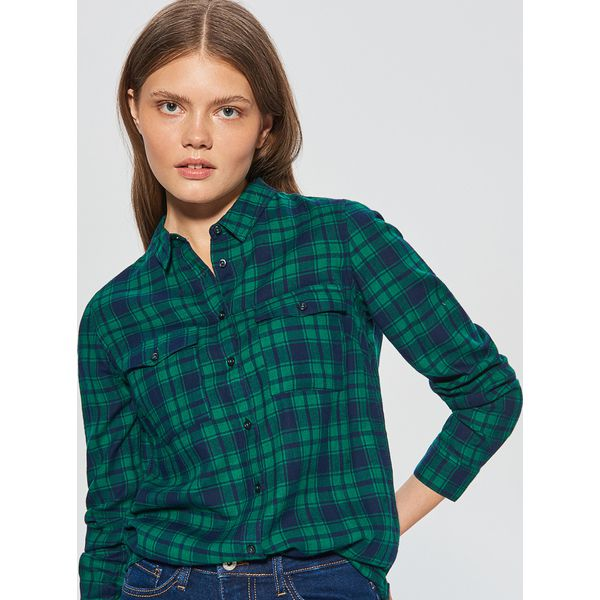2421f01aab63aa Koszula w kratę - Zielony - Koszule damskie marki Cropp. W ...