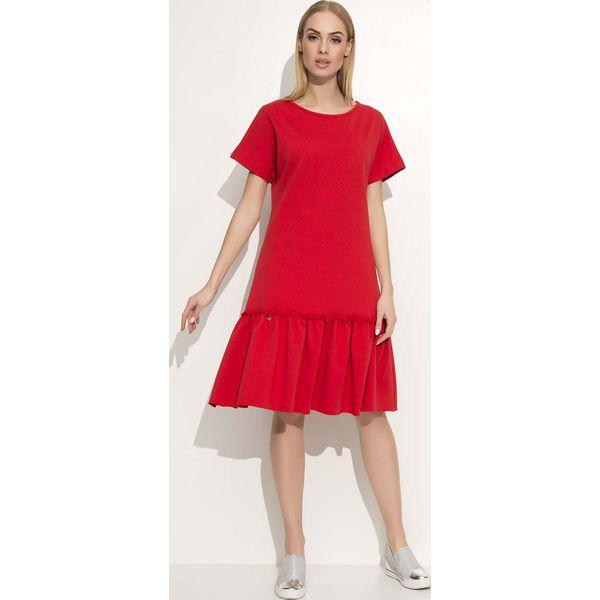 dfaf8f5dd5 Czerwona Luźna Midi Sukienka Wykończona Falbanką - Sukienki damskie ...