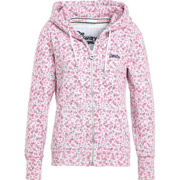 1f2bb5790 Superdry LABEL ZIPHOOD Bluza rozpinana ice marl/pink bloom - Bluzy ...
