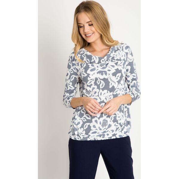 df0e8837c0641f Granatowa bluzka w białe kwiaty QUIOSQUE - Bluzki damskie QUIOSQUE ...