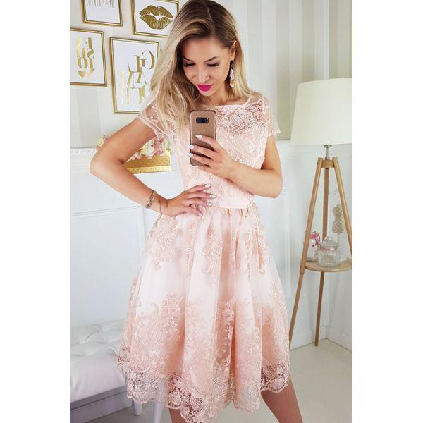 3b55d3b1b9 Sukienka koronkowa midi 2135 - Szare sukienki damskie marki Bico