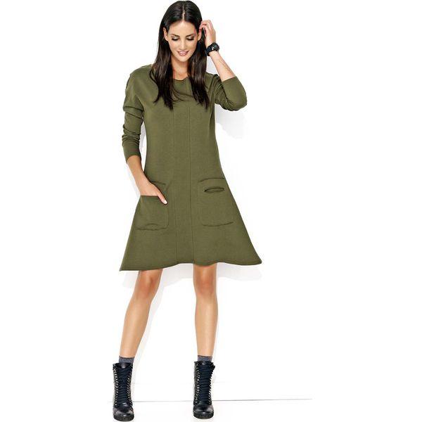 8eea3d79e9 Khaki Nowoczesna Trapezowa Sukienka z Kieszeniami - Sukienki damskie ...