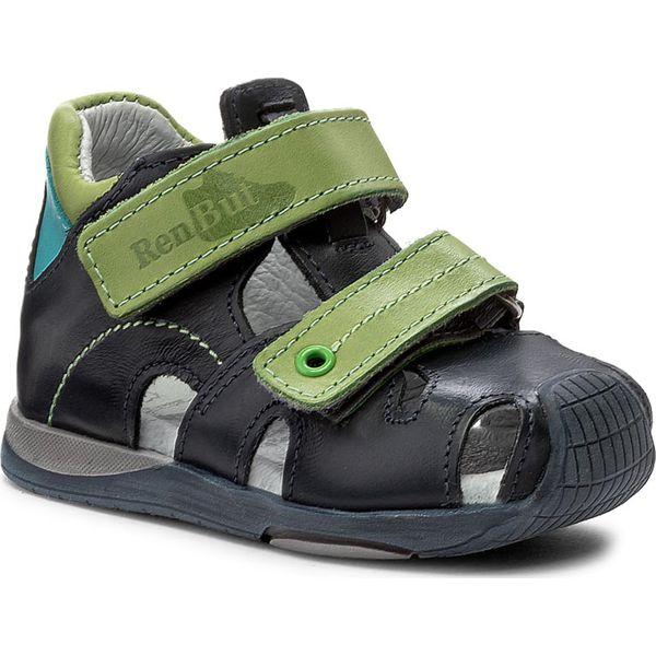 3f527630 Sandały RENBUT - 11-1433 Granat/Zielony - Niebieskie sandały ...