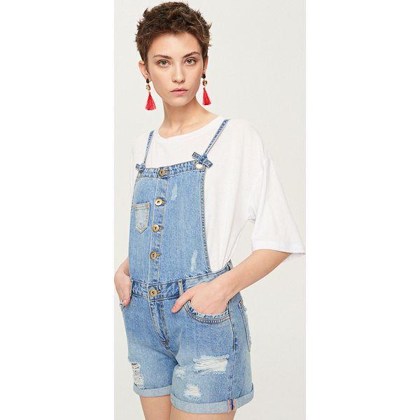 2437e685e2 Jeansowe ogrodniczki - Niebieski - Niebieskie szorty damskie marki ...