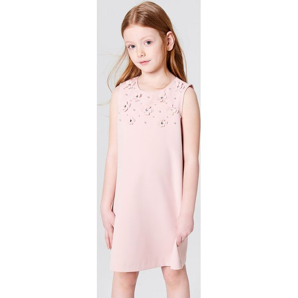 e9a1a40d Dziewczęca sukienka z kwiatową aplikacją little princess - Różowy