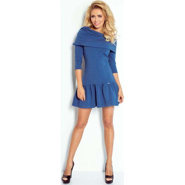 2168e197a4bf Niebieska Sukienka z Luźnym Golfem z Falbanką na Dole - Sukienki ...
