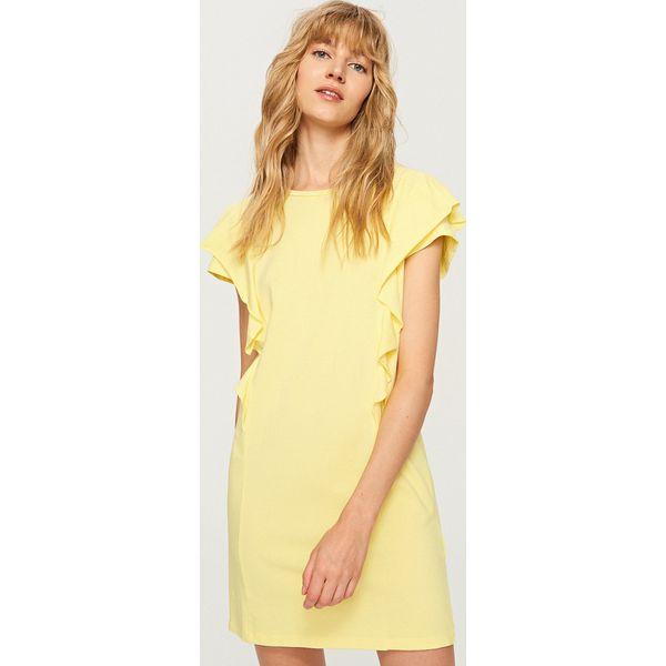 72ad689e6f Sukienka z falbankami przy ramionach - Żółty - Żółte sukienki ...
