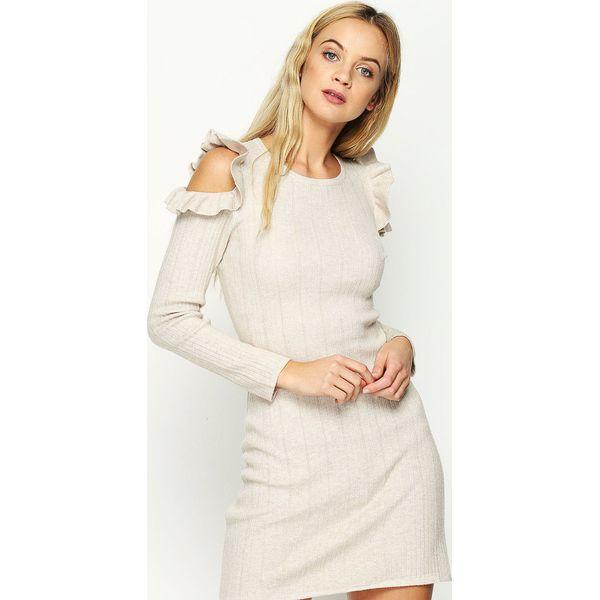 52e1dd72f7 Beżowa Sukienka Layers Petal - Brązowe sukienki damskie marki ...